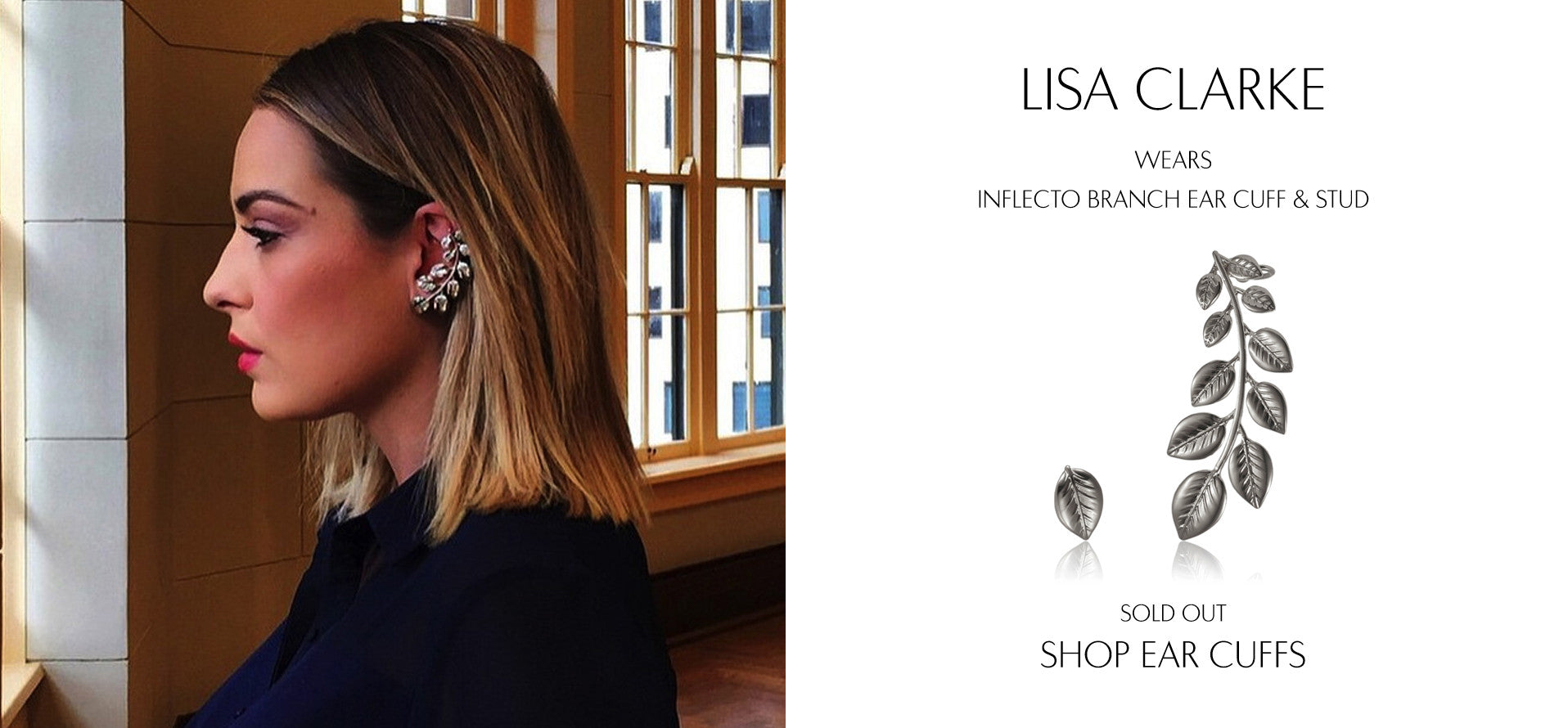IAmLisaClarke wears Sarina Suriano Inflecto Branch leaf earcuff and stud