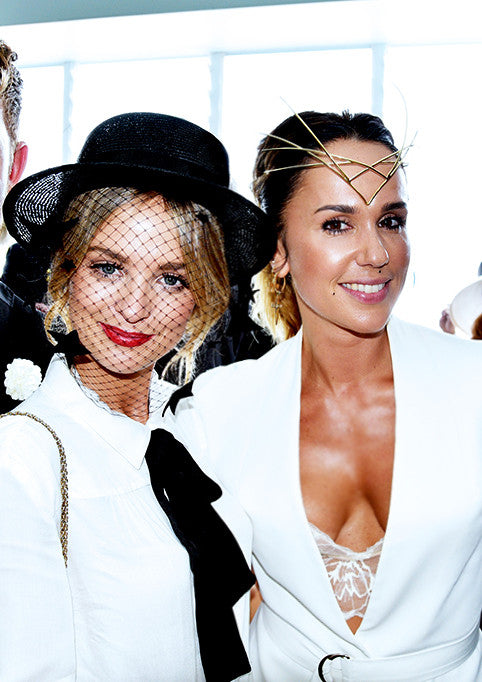 Pip Edwards wearing Sarina Suriano bespoke headpiece at Derby Day 2015
