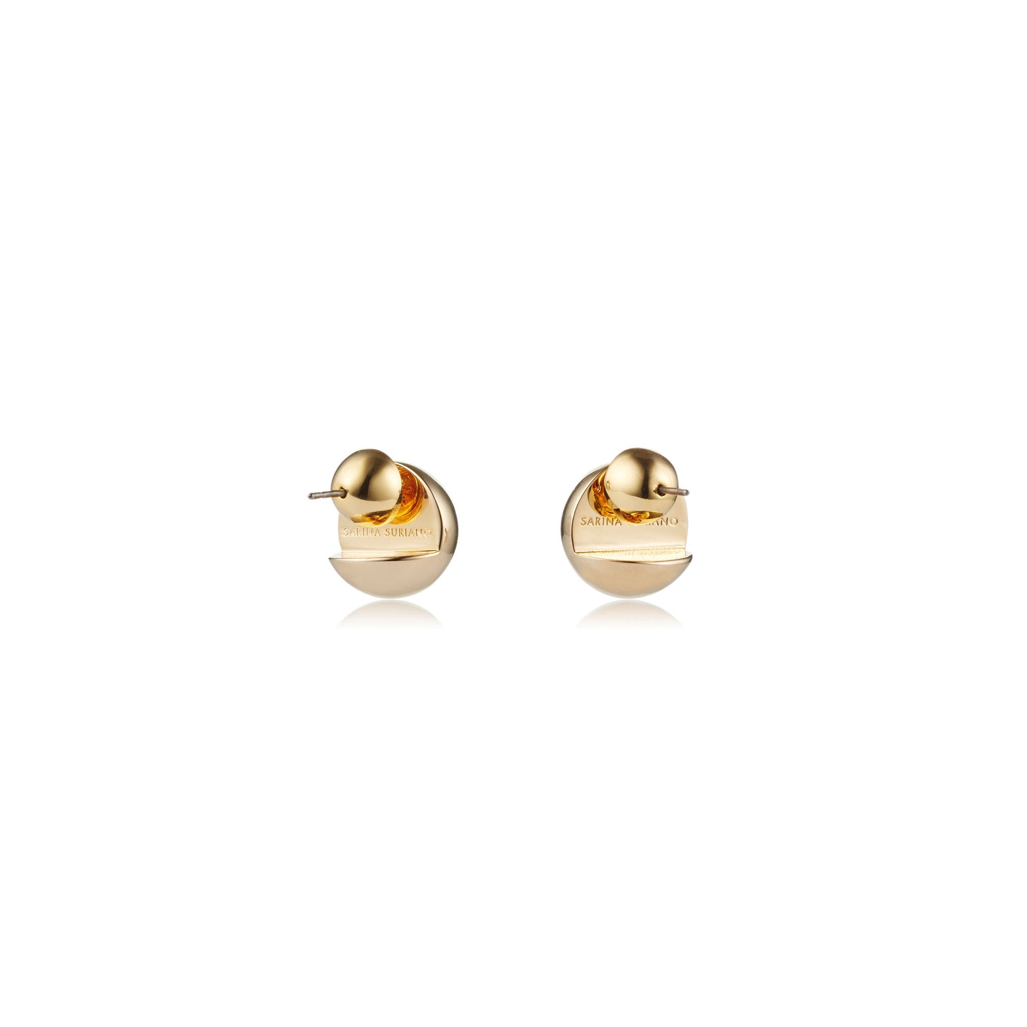 Solid brass, 18K gold plated Cava stud earrings – back