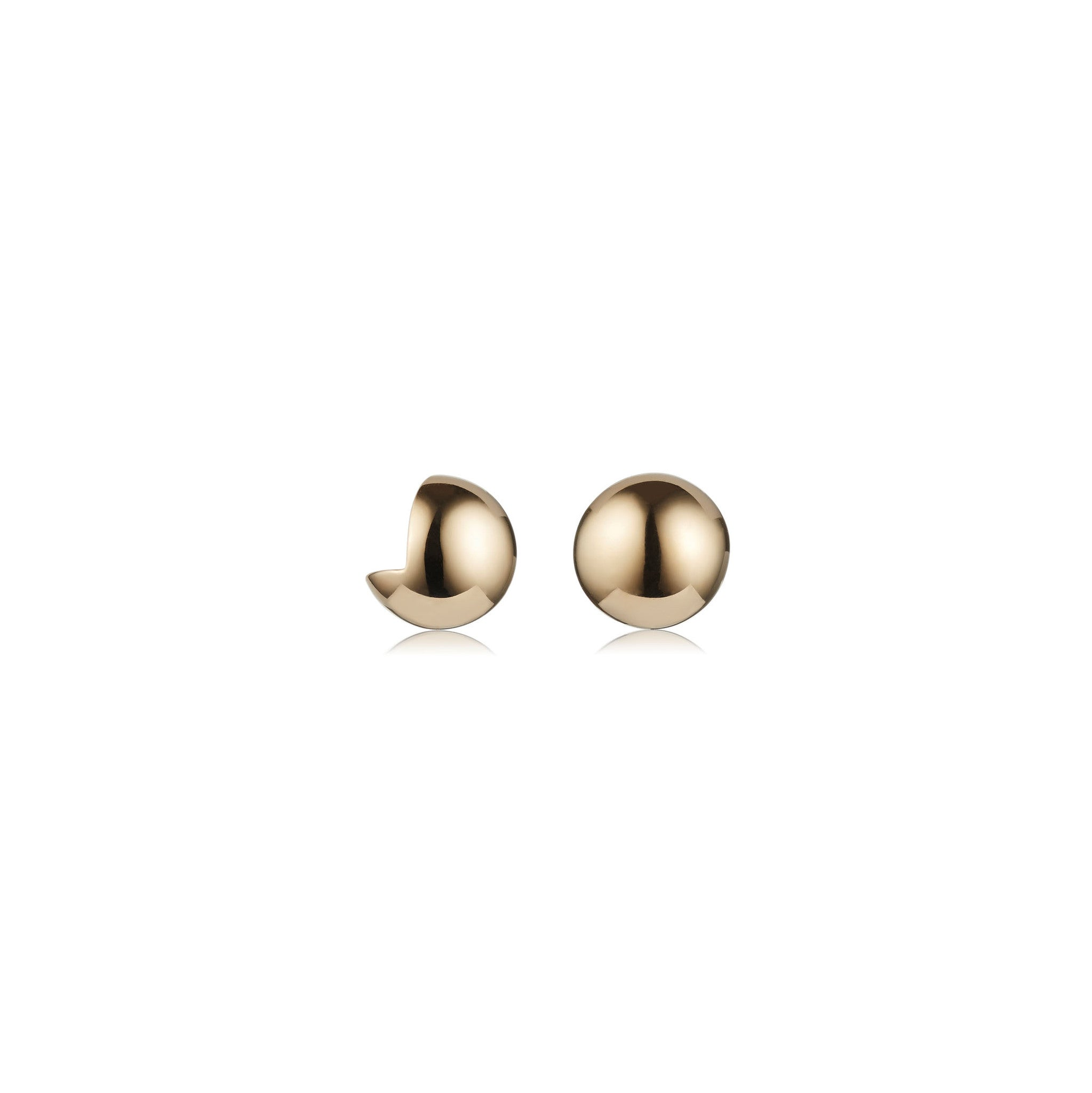 Solid brass, 18K gold plated Cava stud earrings – front