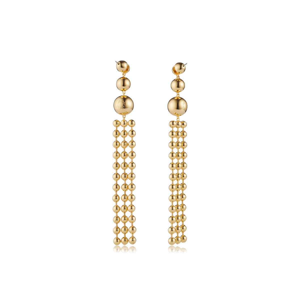 Solid brass, 18K gold plated Ad Astra drop earrings - back