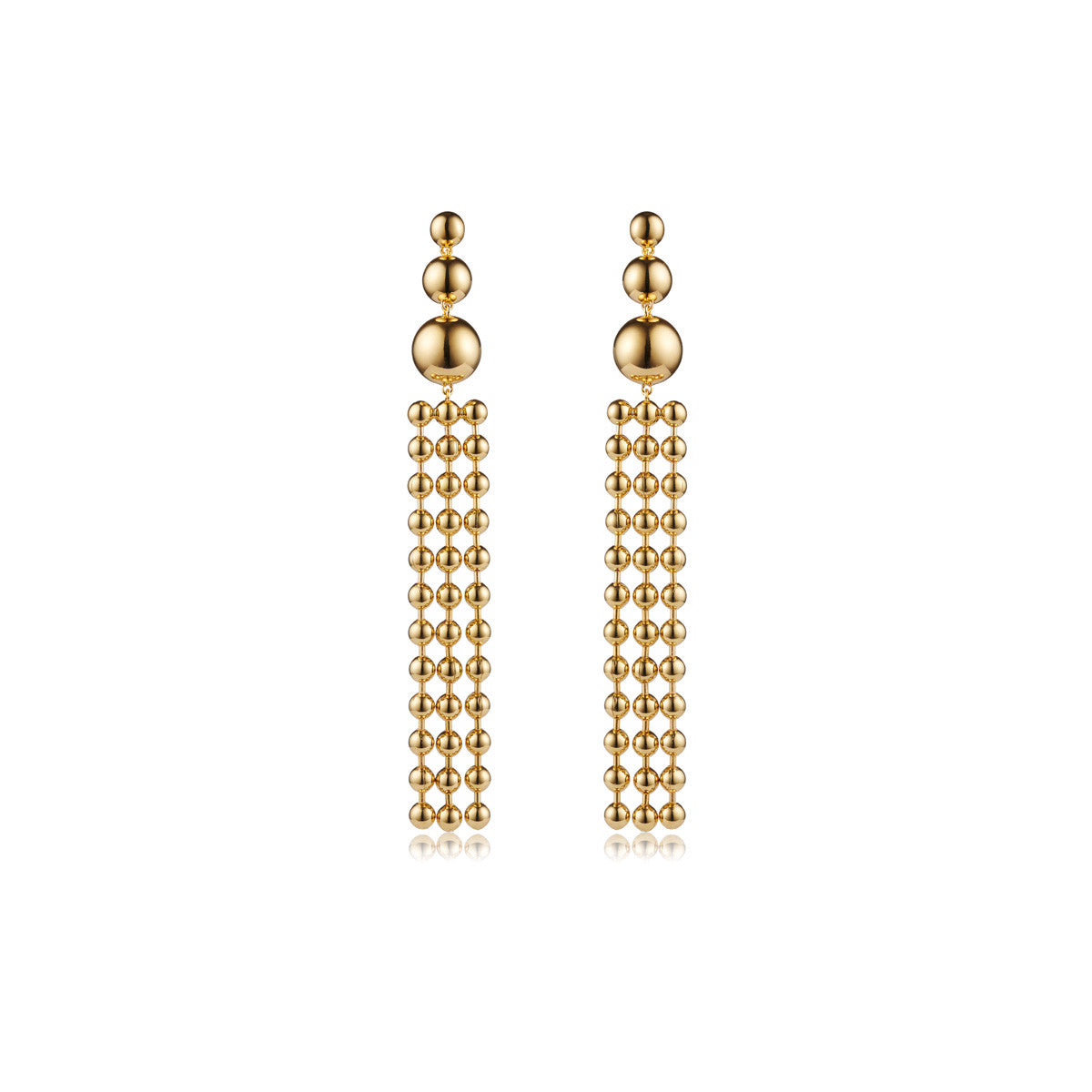 Solid brass, 18K gold plated Ad Astra drop earrings - front