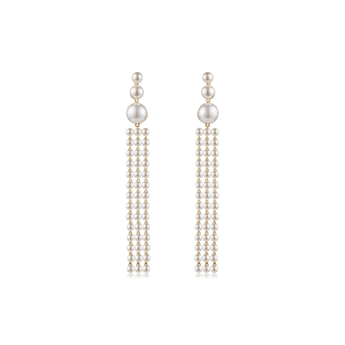 18K gold plated Ad Astra Swarovski® pearl earrings - front