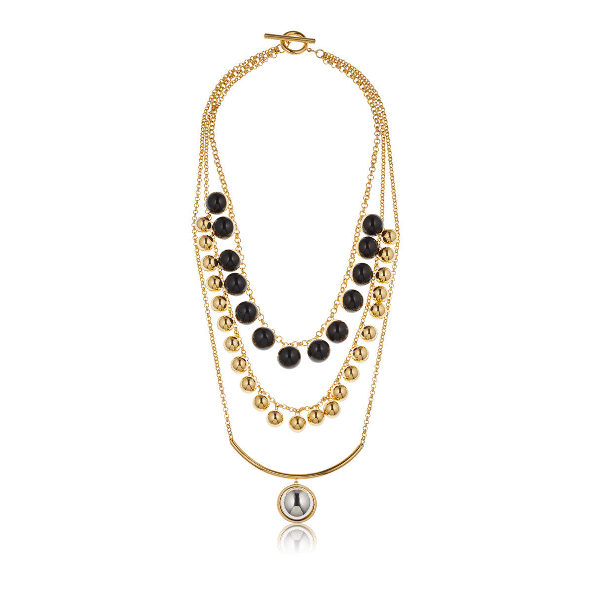 Solid brass, 18K gold plated and black onyx Asterism statement necklace - front