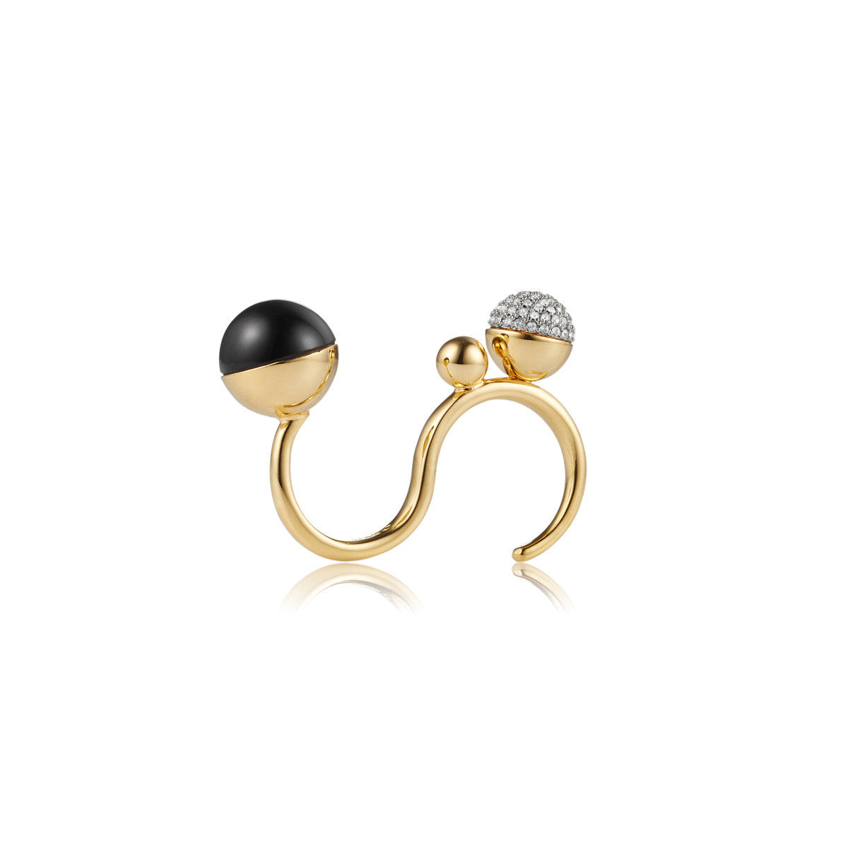 Solid brass, gold plated ring with black onyx and Swarovski® crystals - front