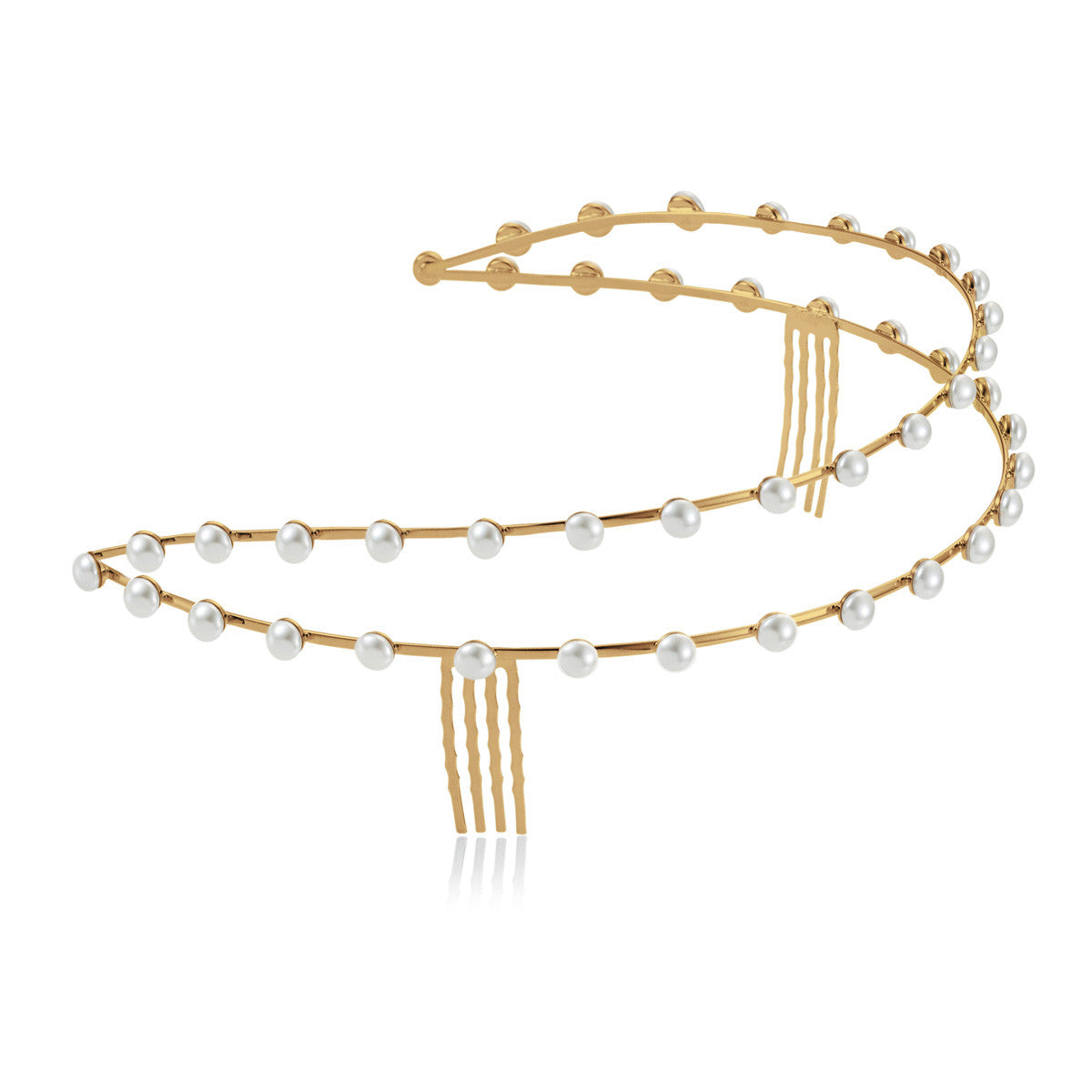 Solid brass, 18K gold plated crown with Swarovski® pearls - side