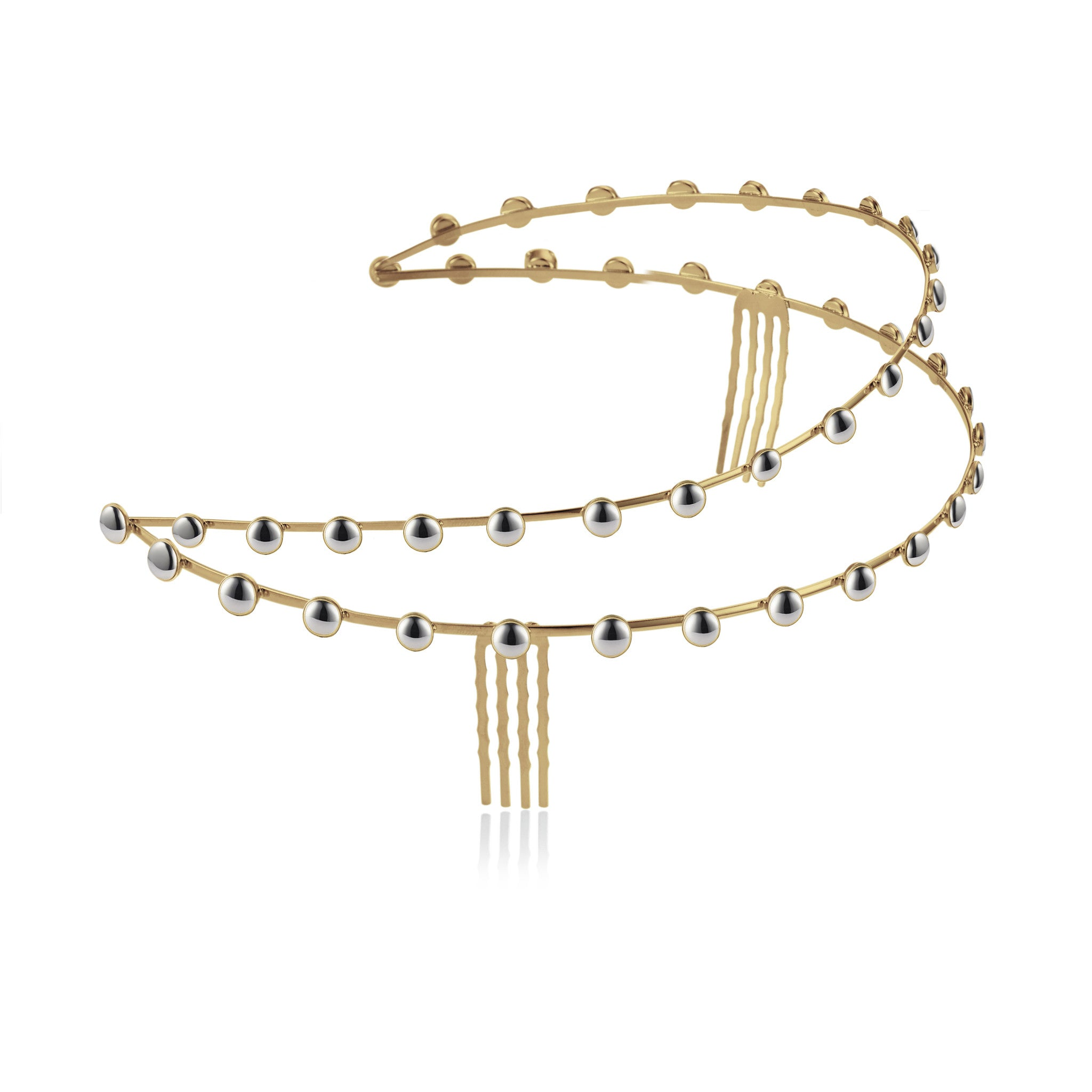 Solid brass, double row headpiece finished in contrasting 18K gold and rhodium plate - side
