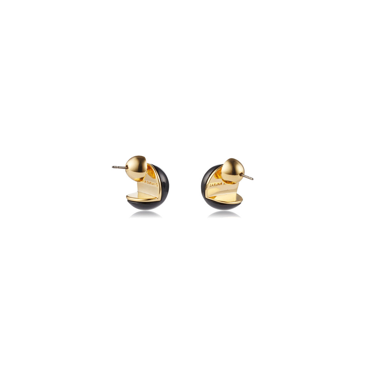 Solid brass, 18K gold plated Cava stud earrings in black onyx – back