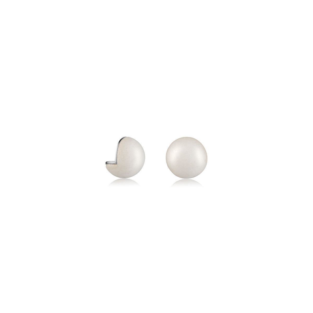 Solid brass, Genuine Rhodium plated Cava stud earrings in white agate – front