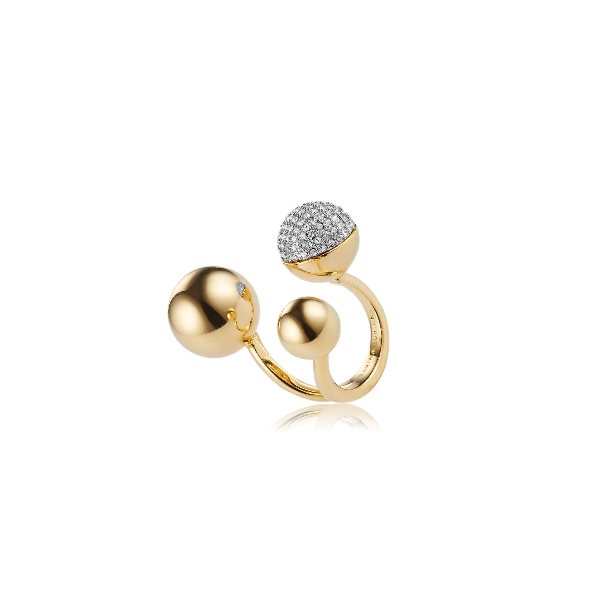Solid brass, 18K gold plated Celestine ring with Swarovski® crystal pavè detailing - side
