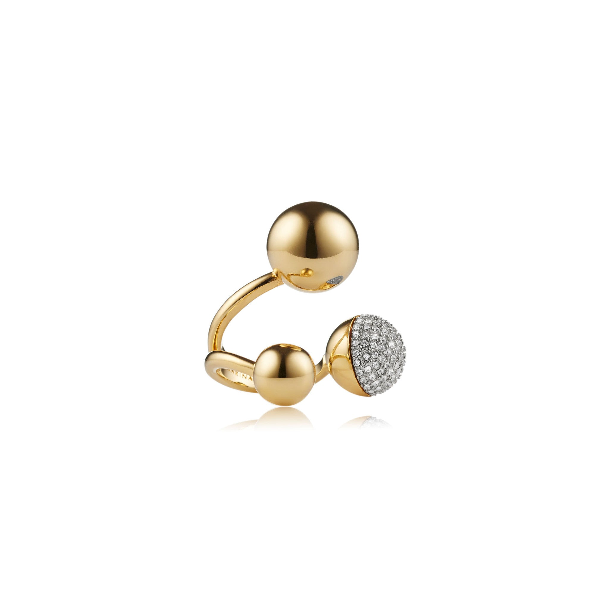 Solid brass, 18K gold plated Celestine ring with Swarovski® crystal pavè detailing - front