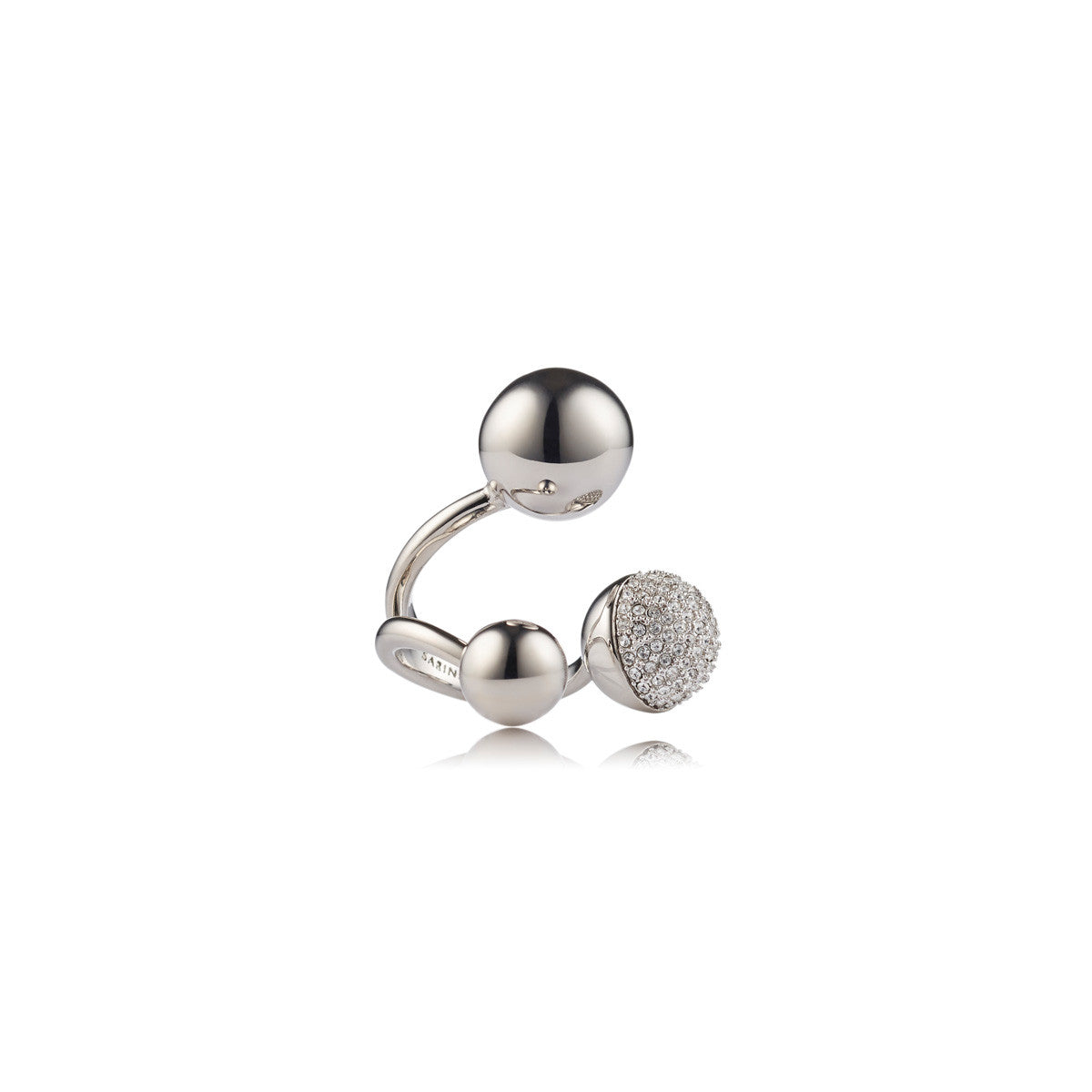 Solid brass, rhodium plated Celestine ring with Swarovski® crystal pavè detailing - front