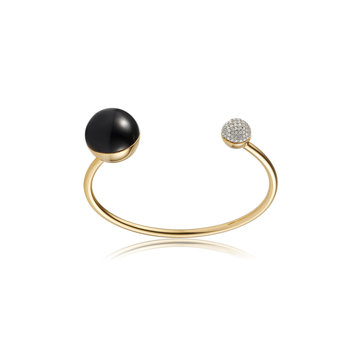 Solid brass, 18K gold plated Crystal Orbis bangle topped with black onyx and Swarovski® crystal pavè detailing - front