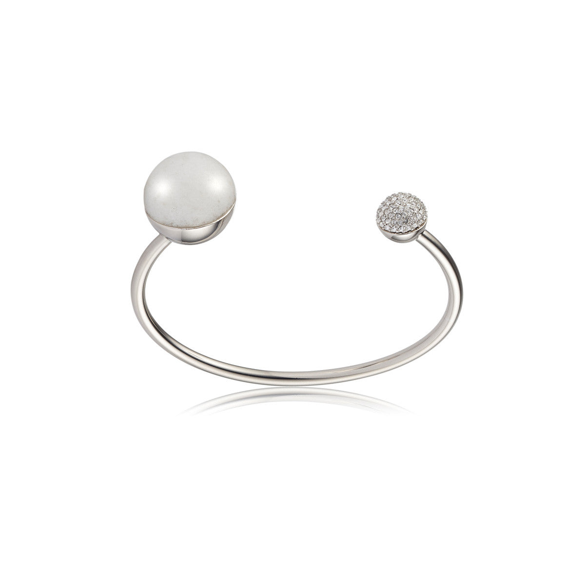 Solid brass, rhodium plated Crystal Orbis bangle topped with white agate and Swarovski® crystal pavè detailing – front