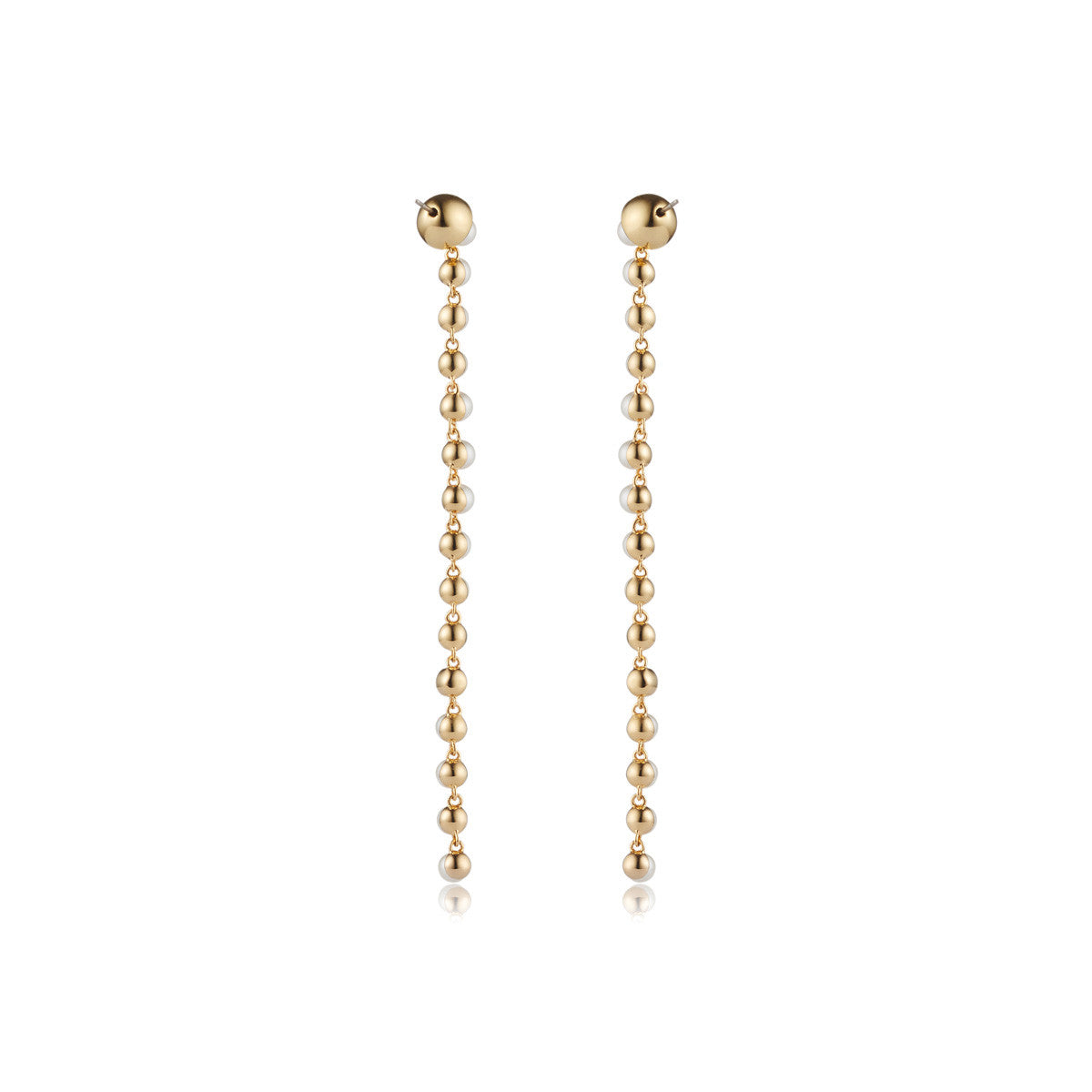 Solid brass, 18K gold plated Diana drop earrings with Swarovski® pearls and crystal – back