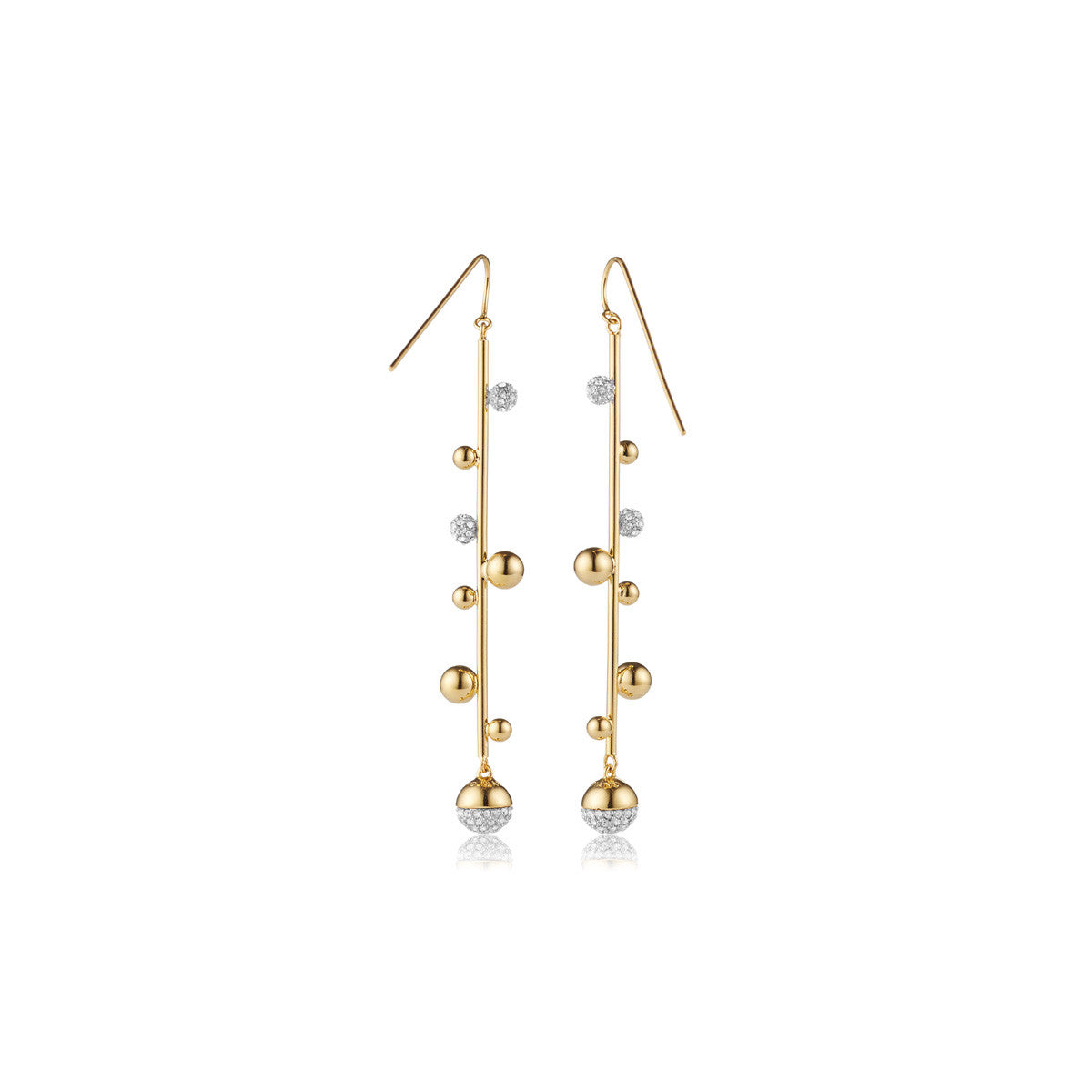 Solid brass, 18K gold plated Galaxy earrings set with Swarovski® crystal pavè detailing – back