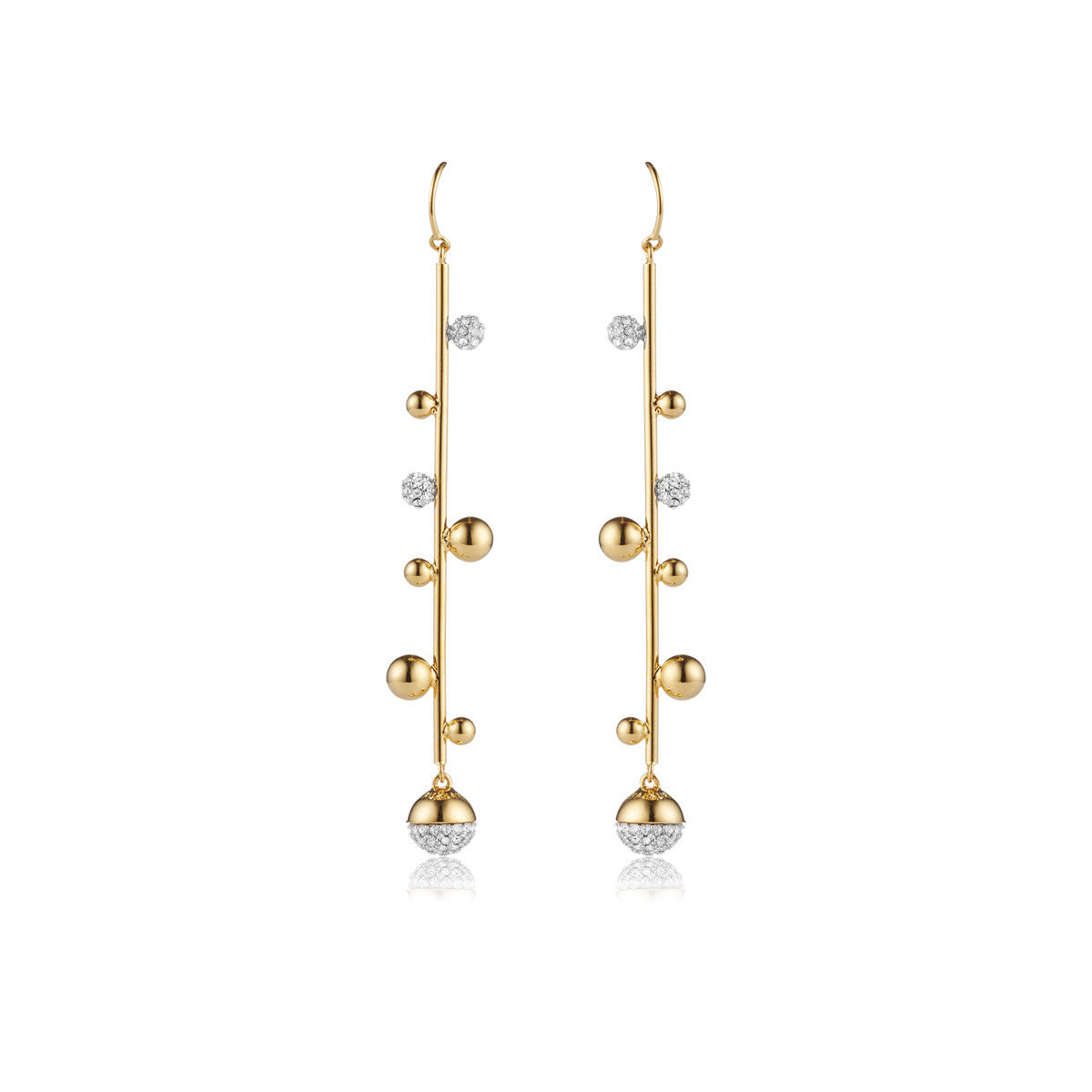 Solid brass, 18K gold plated Galaxy earrings set with Swarovski® crystal pavè detailing – front