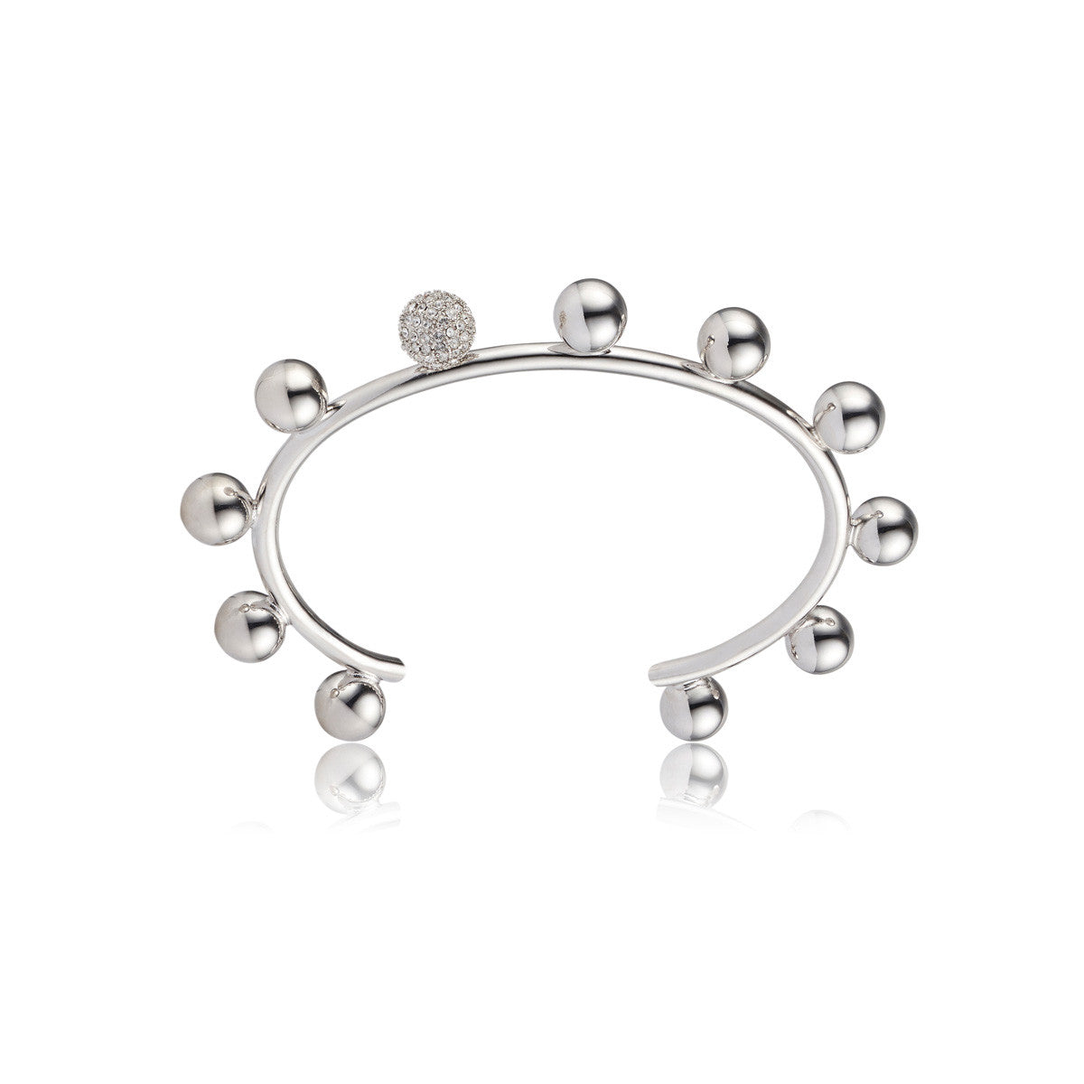 Solid brass, rhodium plated Luceat bangle topped with gleaming spheres and Swarovski® crystal pavè detailing – front