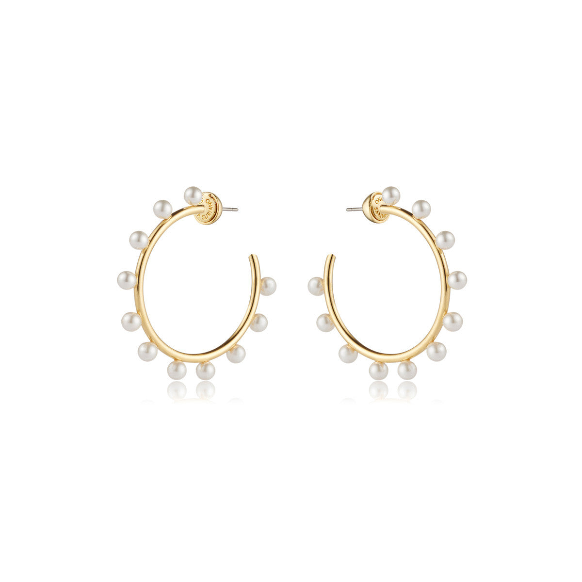 Solid brass, 18K gold plated Luceat earrings are lined with 22 lustrous Swarovski® pearls – front