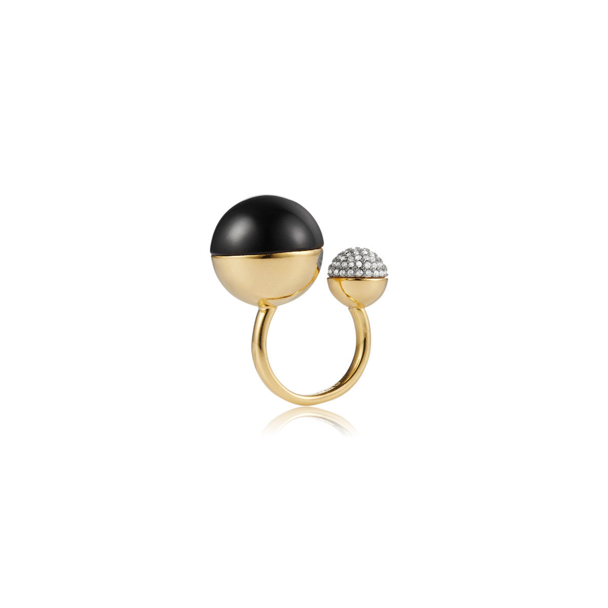 Solid brass, 18K gold plated Luna Ascension ring with black onyx and Swarovski® crystal pavè detailing – front