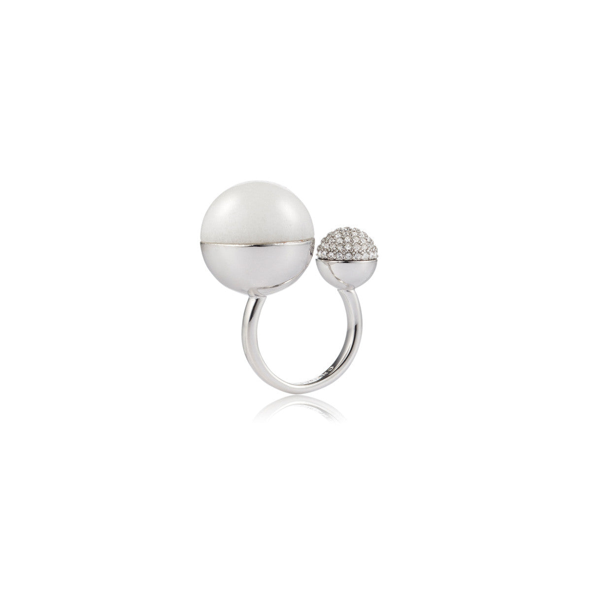 Solid brass, rhodium plated Luna Ascension ring with white agate and Swarovski® crystal pavè detailing – front