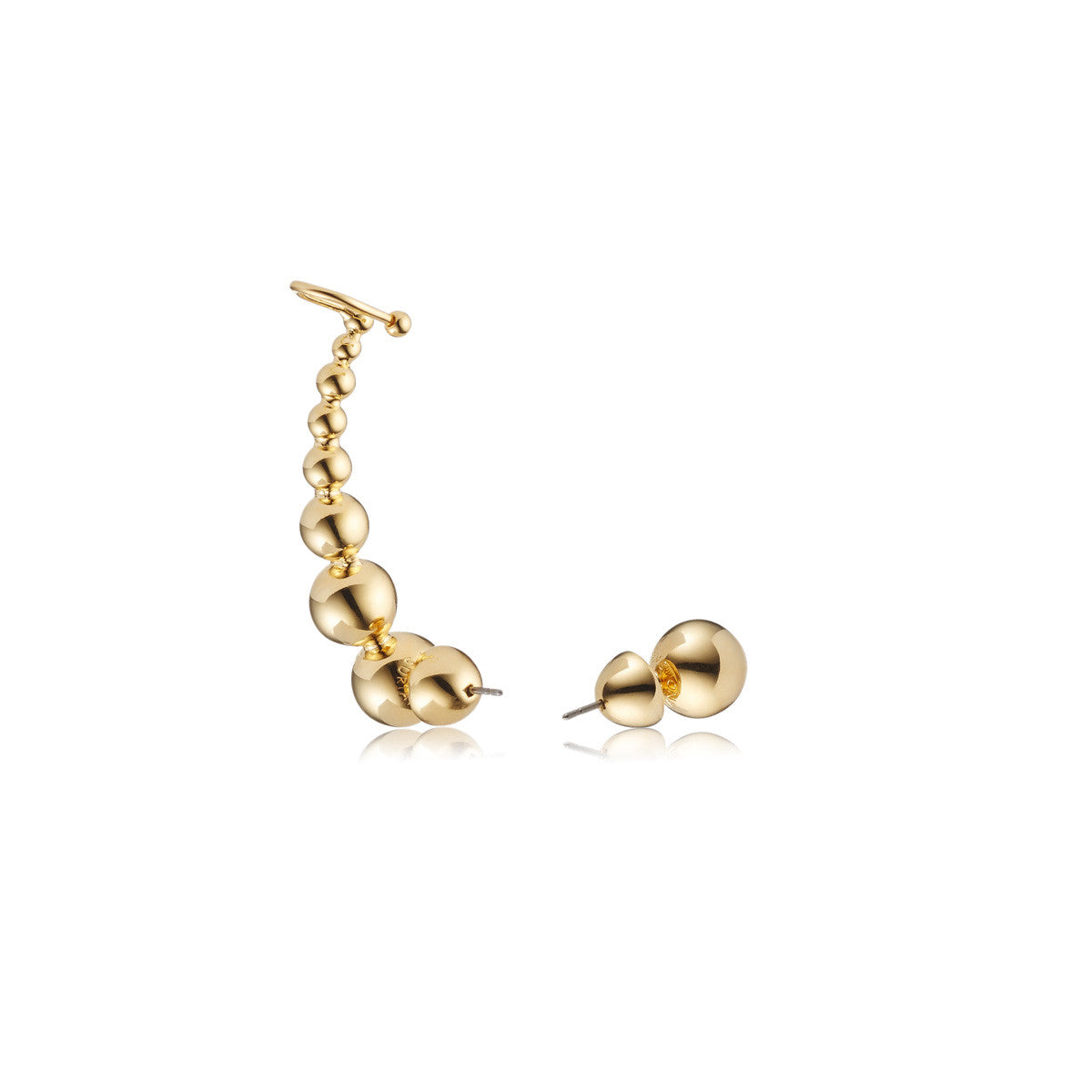 Solid brass, 18K gold plated Luna Kingdom ear cuff and stud – back
