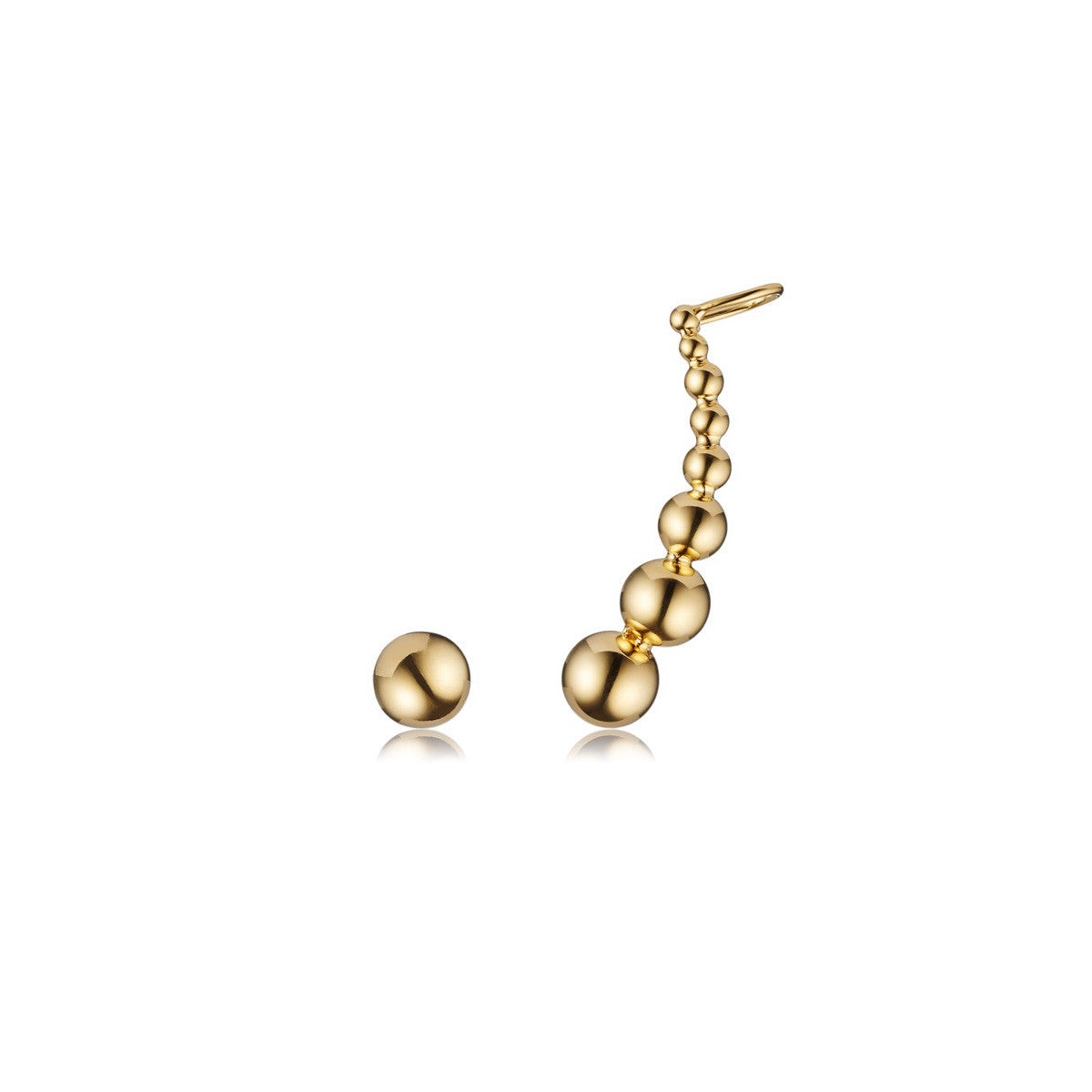 Solid brass, 18K gold plated Luna Kingdom ear cuff and stud – front