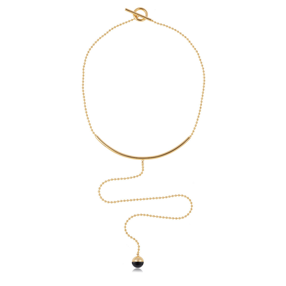 Solid brass, 18K gold plated Luna Tentorium necklace set with hand cut black onyx sphere – front