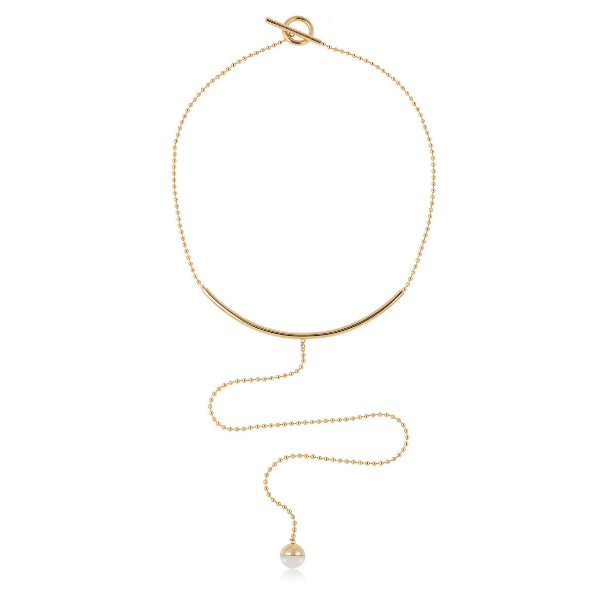 Solid brass, 18K gold plated Luna Tentorium necklace set with hand cut white agate sphere – front