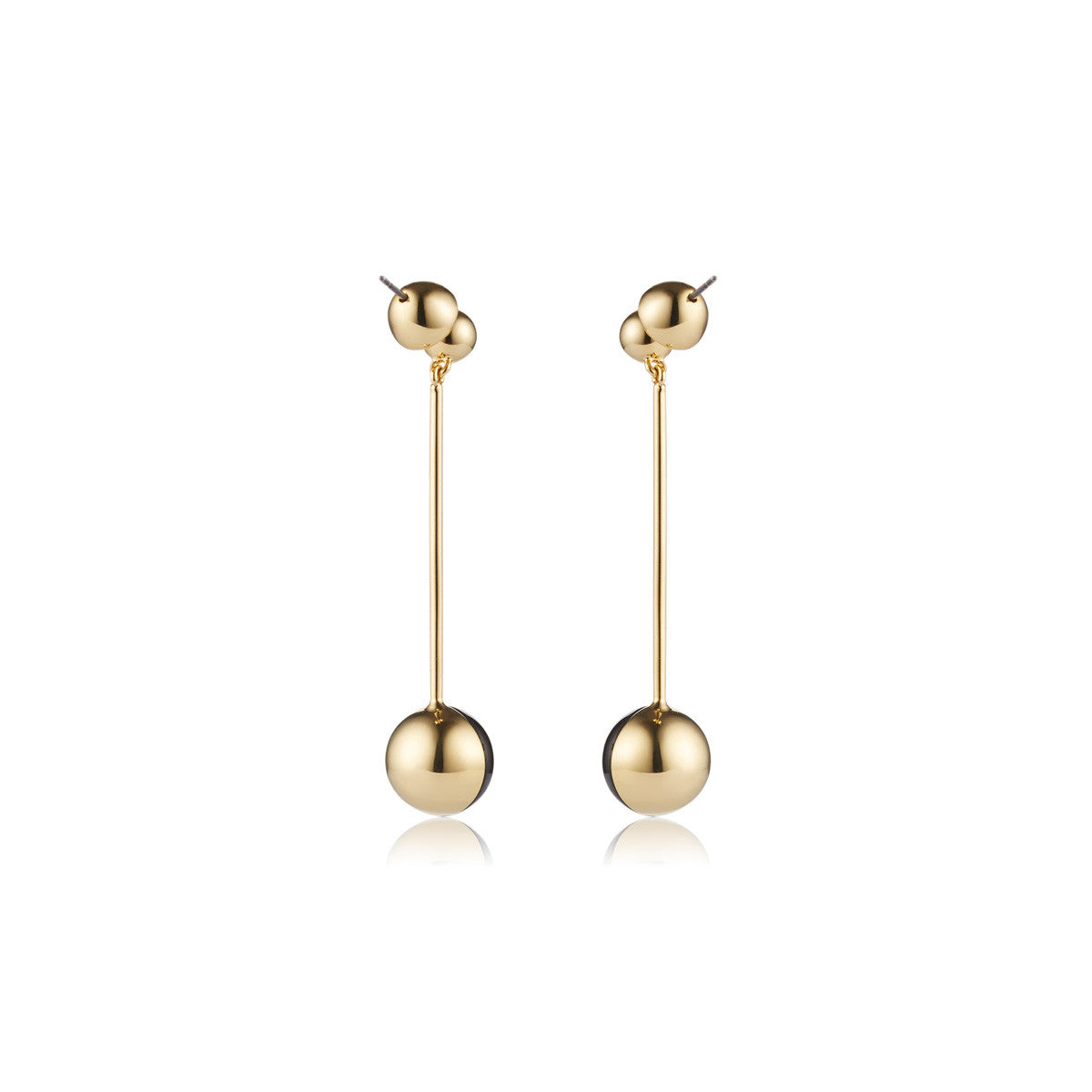 Solid brass, 18K gold plated Luna earrings set with hand cut black onyx – back