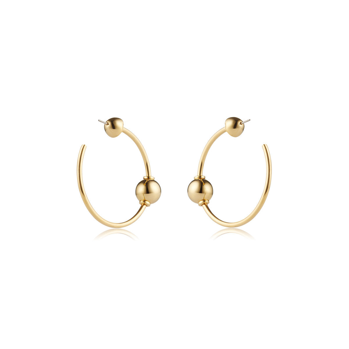 Solid brass, 18K gold plated Mars Circulus hoop earrings – back