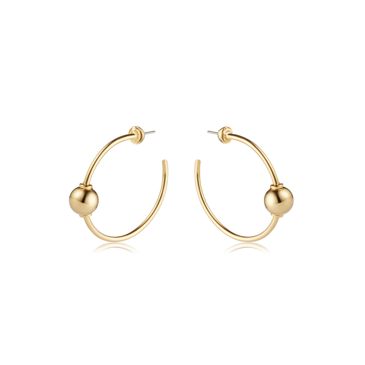 Solid brass, 18K gold plated Mars Circulus hoop earrings – front
