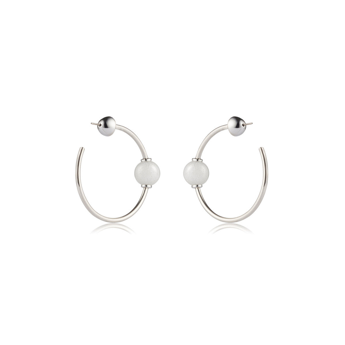 Solid brass, rhodium plated Mars Circulus hoop earrings set with hand cut natural white agate spheres – back