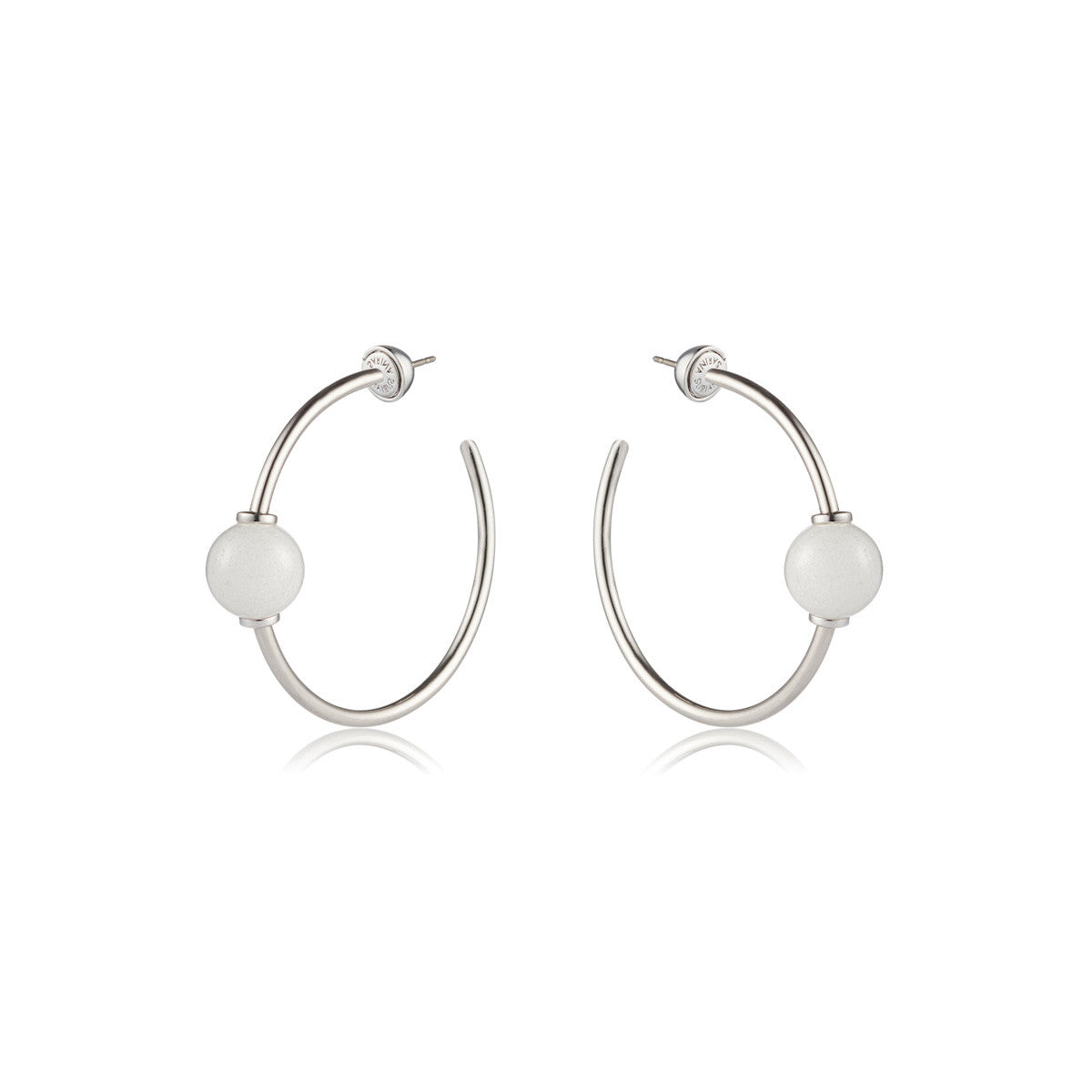 Solid brass, rhodium plated Mars Circulus hoop earrings set with hand cut natural white agate spheres – front