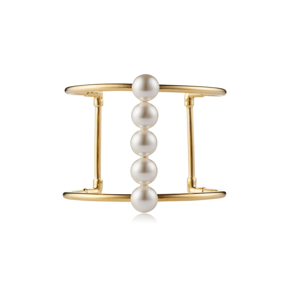 Solid brass, 18K gold plated Moonraker cuff bangle features a bold line of Swarovski® pearls along the centre – front