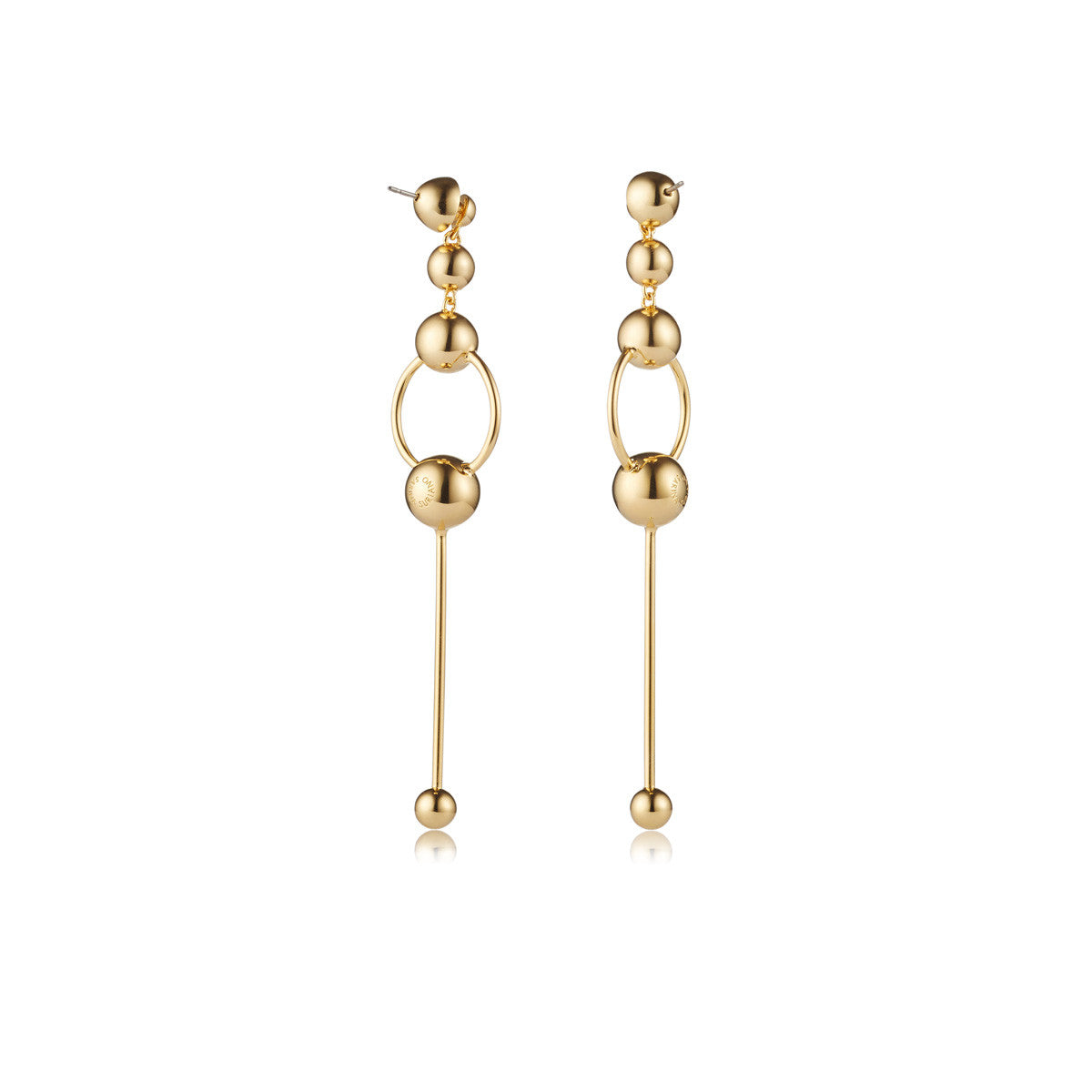 Solid brass, 18K gold plated Orbita earrings with graduating spheres will take you from day to night - back