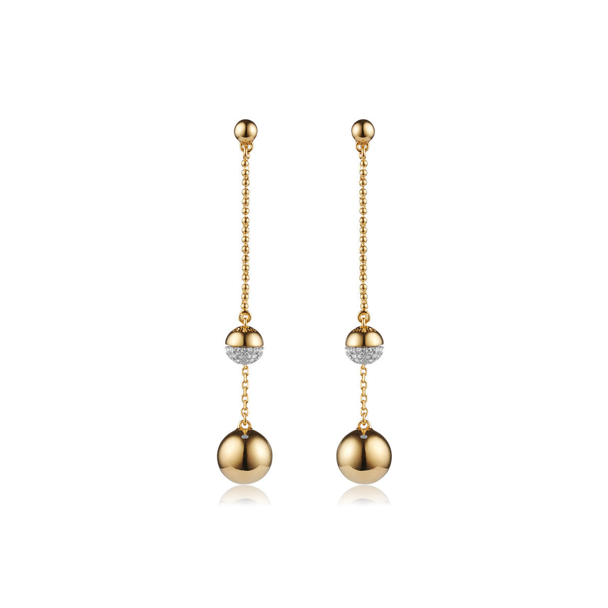 Solid brass, 18K gold plated Pendulus earrings hang with a gold sphere and set with Swarovski® crystal pavè detailing – front