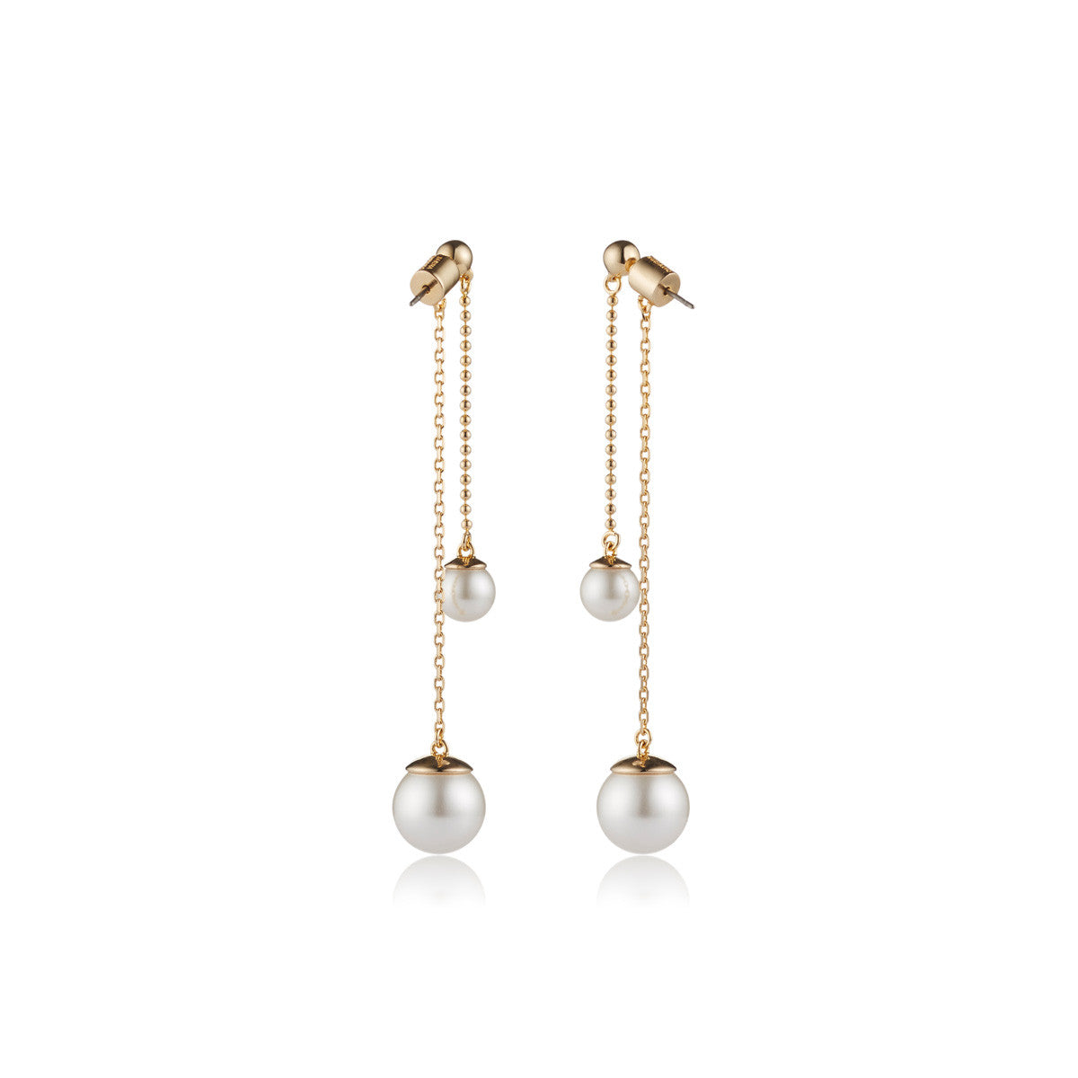 Solid brass, 18K gold plated Pendulus earrings hang with 2 perfect Swarovski® crystal pearls – back