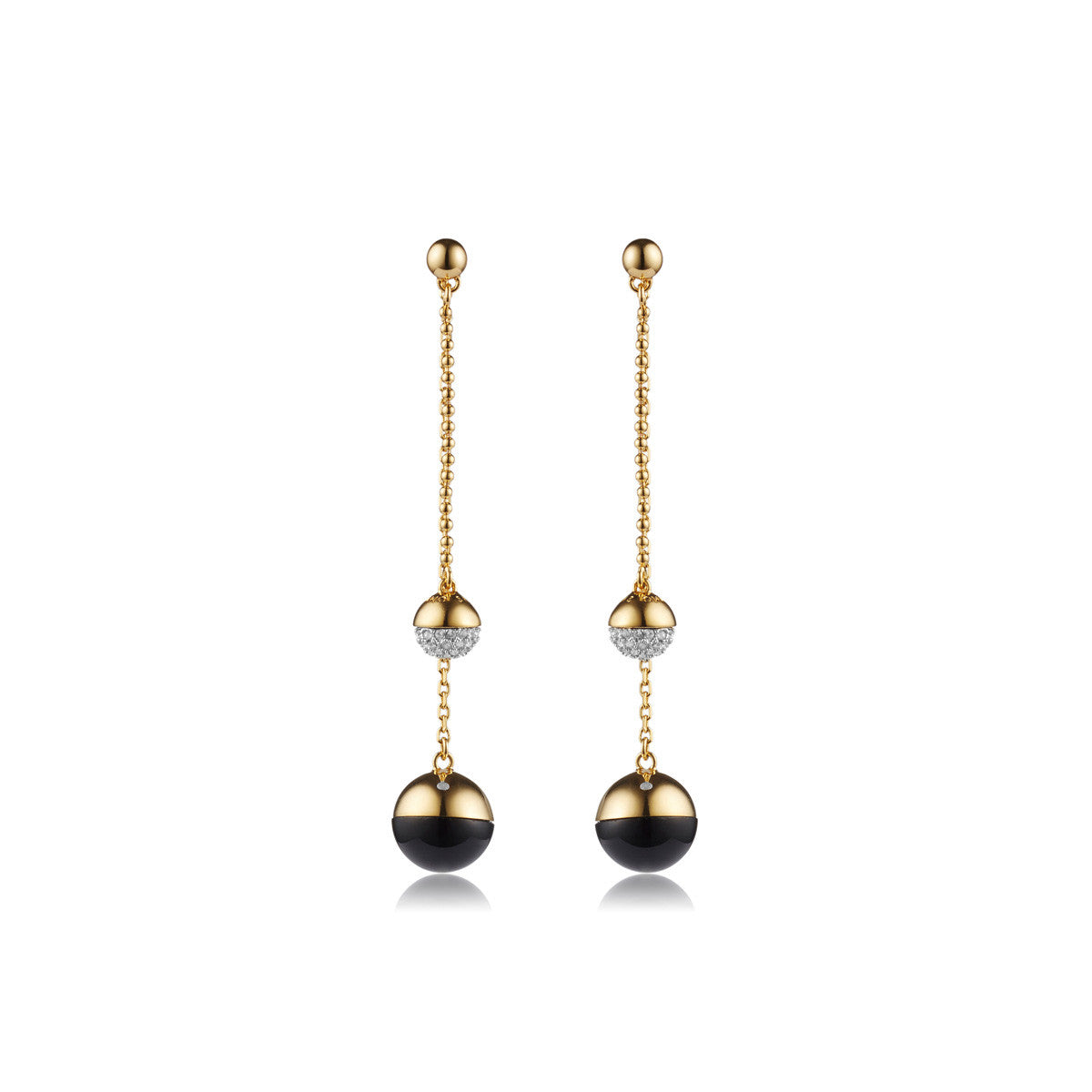 Solid brass, 18K gold plated Pendulus earrings hang with a black onyx stone and set with Swarovski® crystal pavè detailing - front