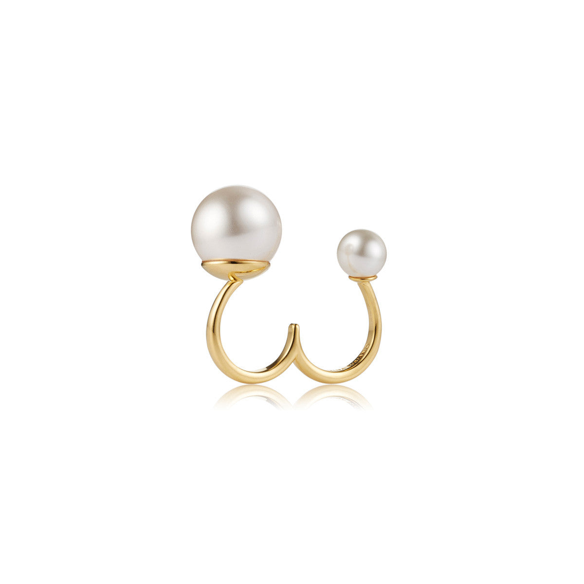 Solid brass, 18K gold plated Sagittarius Astris ring features a pair of Swarovski® pearls - bold, beautiful and feminine - front