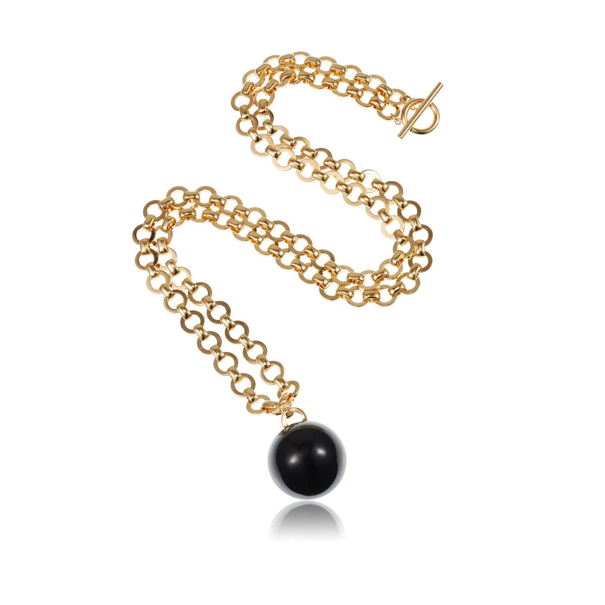 Solid brass, 18K gold plated Sphera pendant necklace with solid brass link chain and a single stunning natural black onyx sphere - front