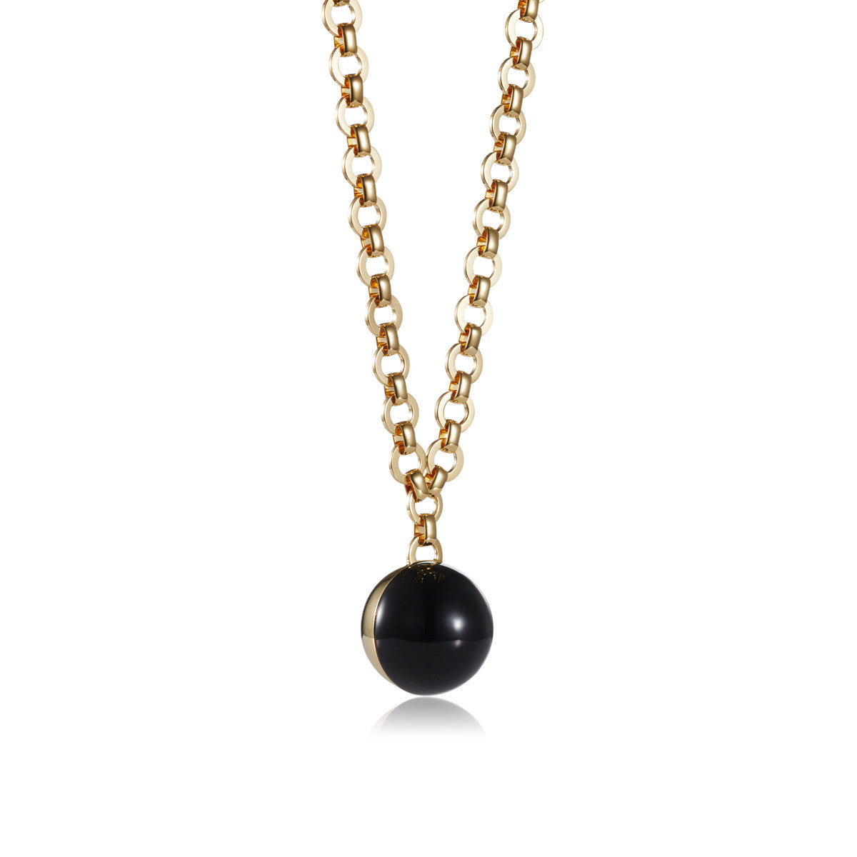 Solid brass, 18K gold plated Sphera pendant necklace with solid brass link chain and a single stunning natural black onyx sphere - detail