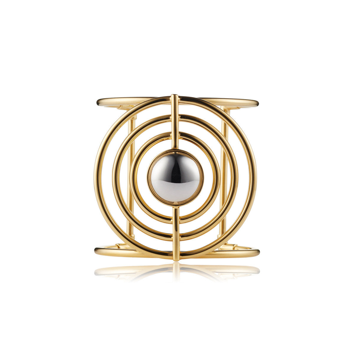 Solid brass, the Splendidus Saturn cuff bangle features contrasting 18K gold and rhodium plating - front