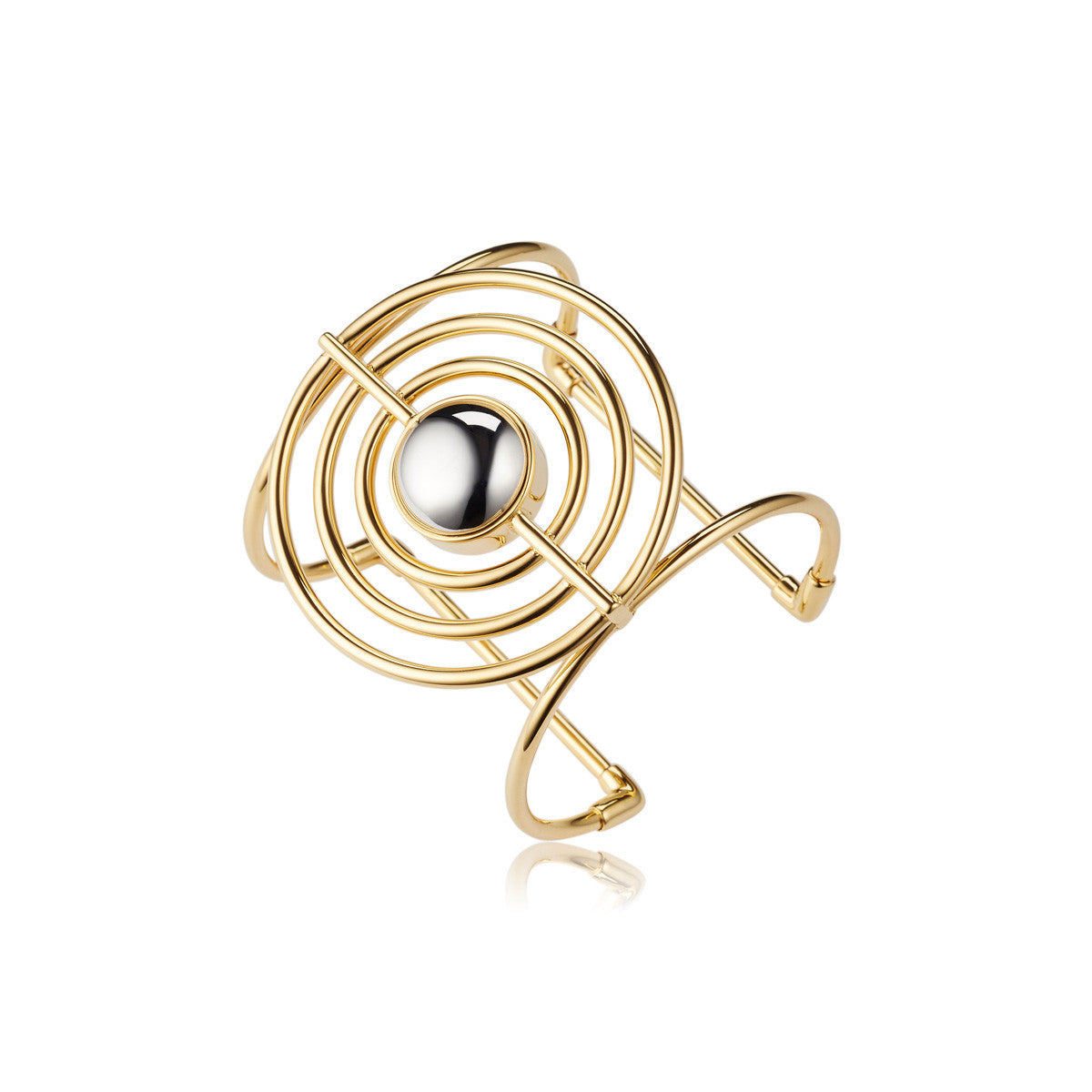 Solid brass, the Splendidus Saturn cuff bangle features contrasting 18K gold and rhodium plating - side