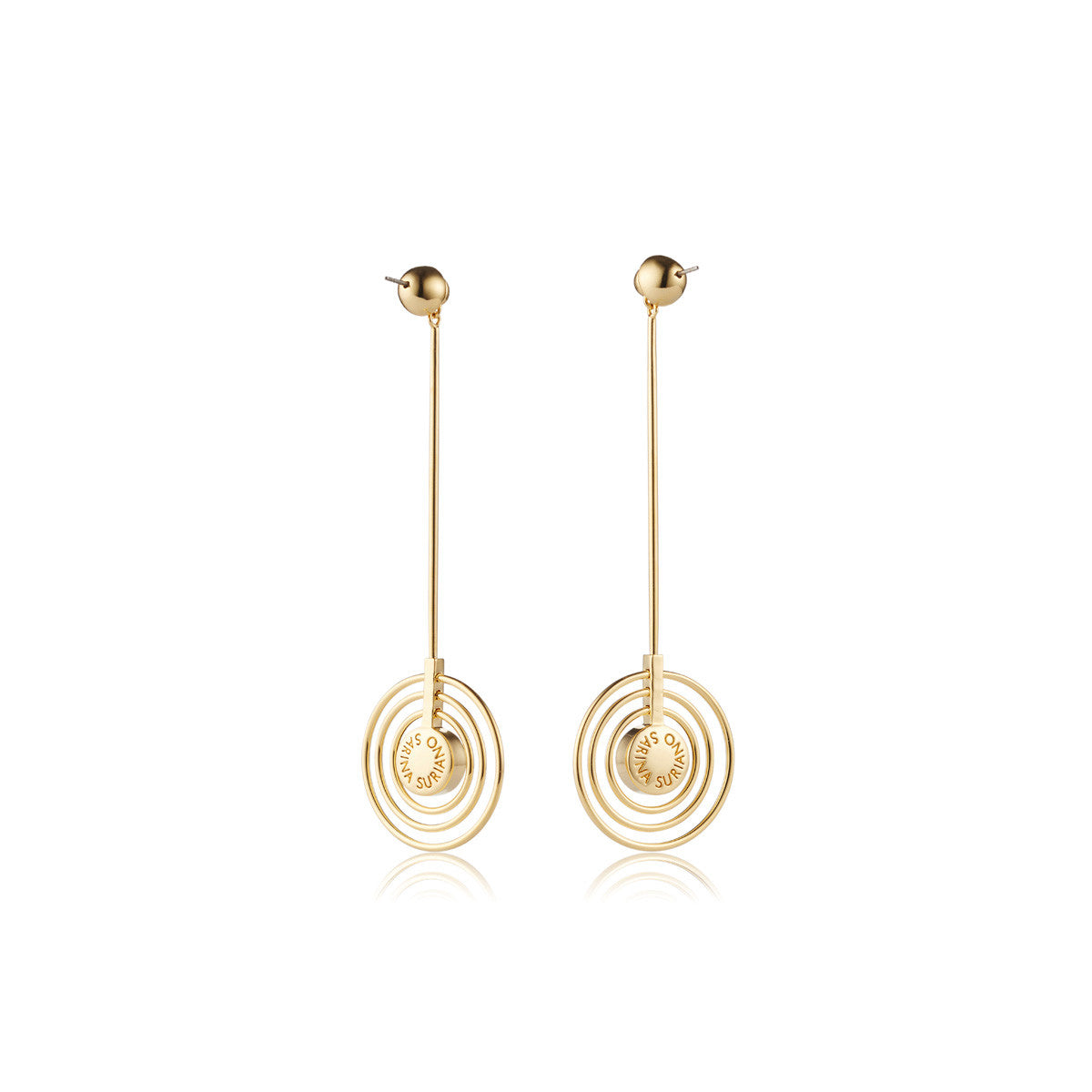 Solid brass, the Splendidus Saturn earrings feature contrasting 18K gold and rhodium plating – back