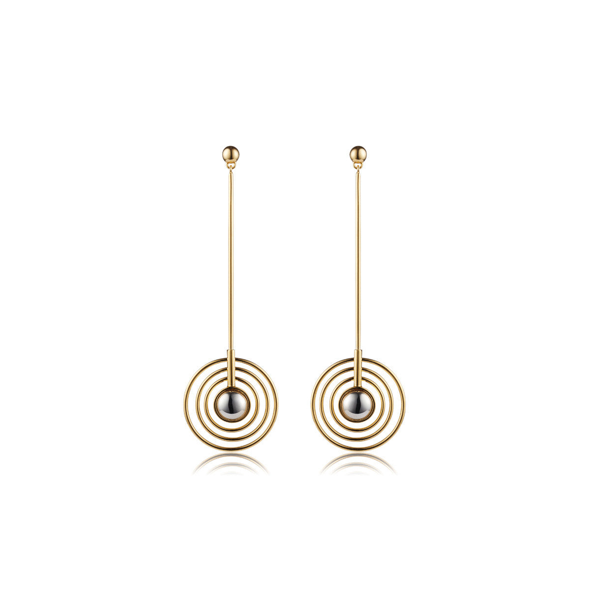 Solid brass, the Splendidus Saturn earrings feature contrasting 18K gold and rhodium plating – front