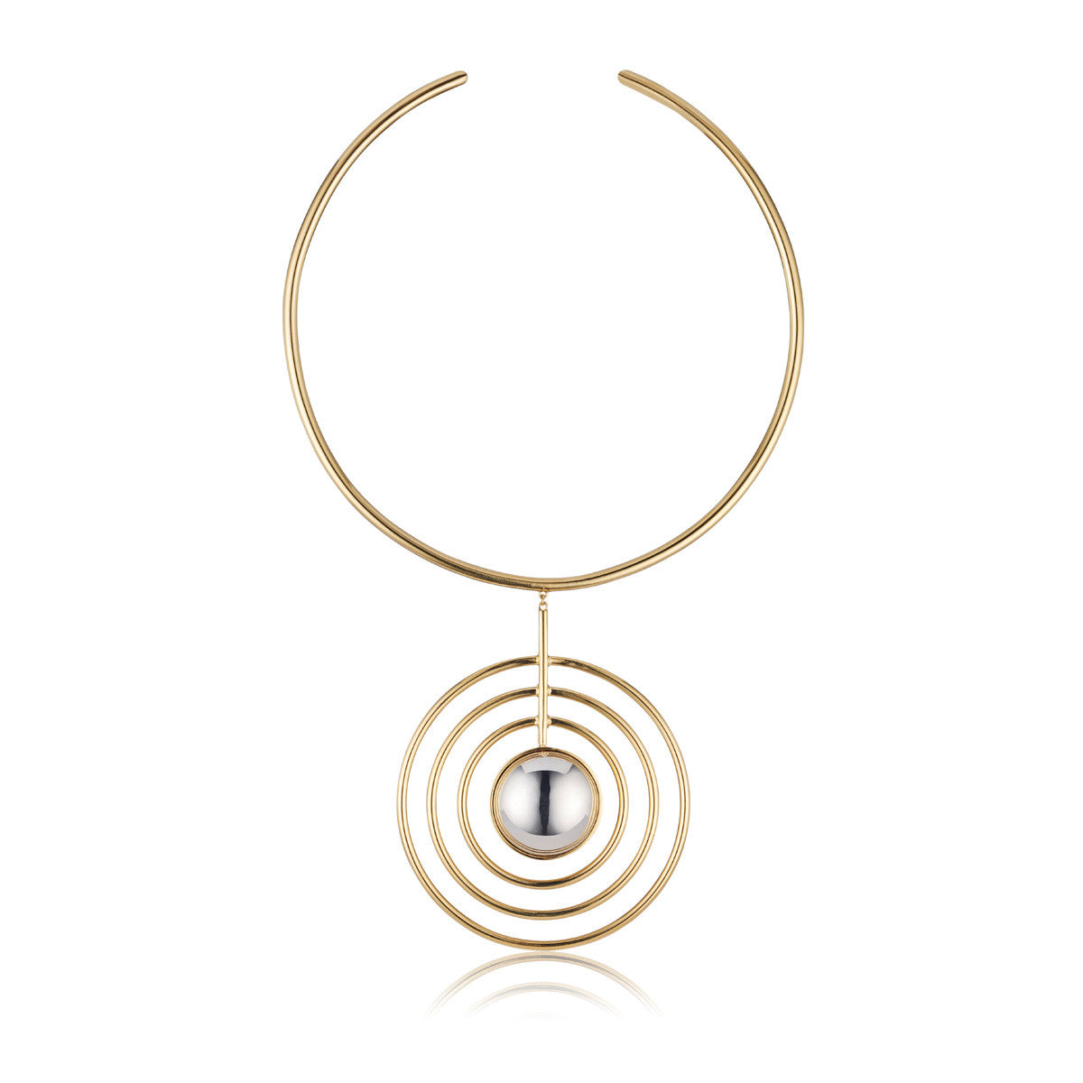Solid brass, the Splendidus Saturn choker necklace features contrasting 18K gold and rhodium plating - front