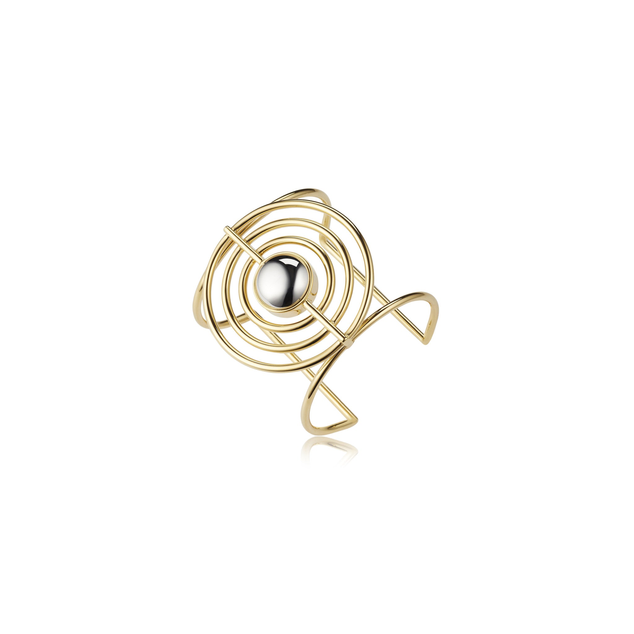 Solid brass, Splendidus Saturn ring features contrasting 18K gold and rhodium plating – side