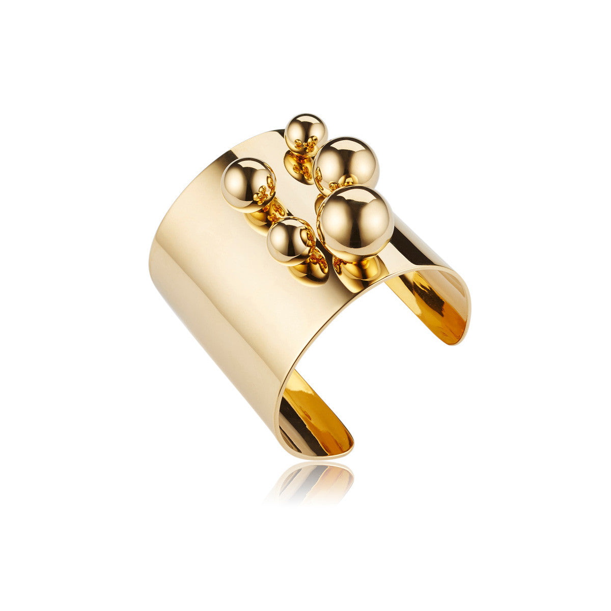 Solid brass, 18K gold plated Stellatus cuff bangle is adorned with a cluster of spheres – side