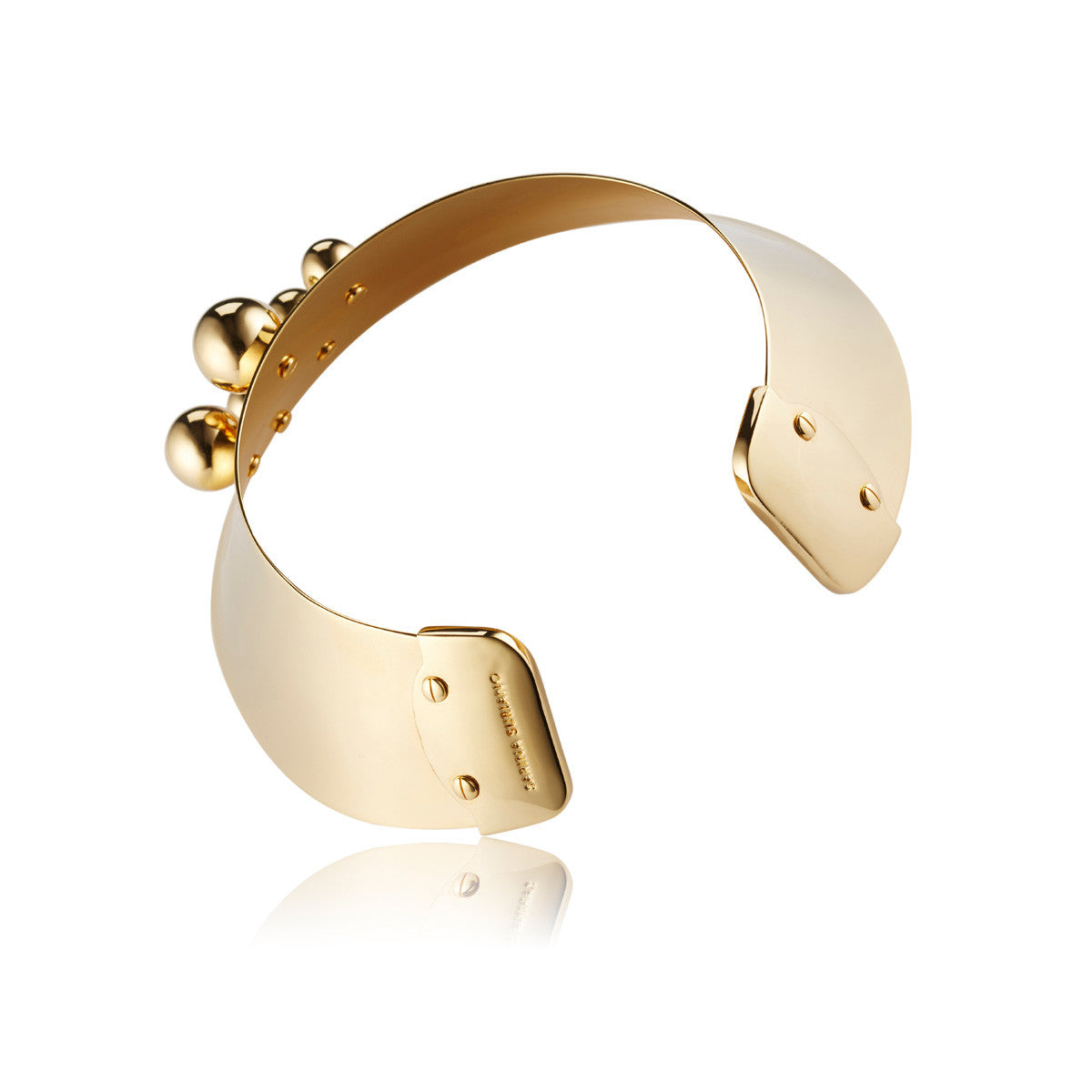 Solid brass, 18K gold plated Stellatus neck cuff is adorned with a cluster of gleaming spheres – back